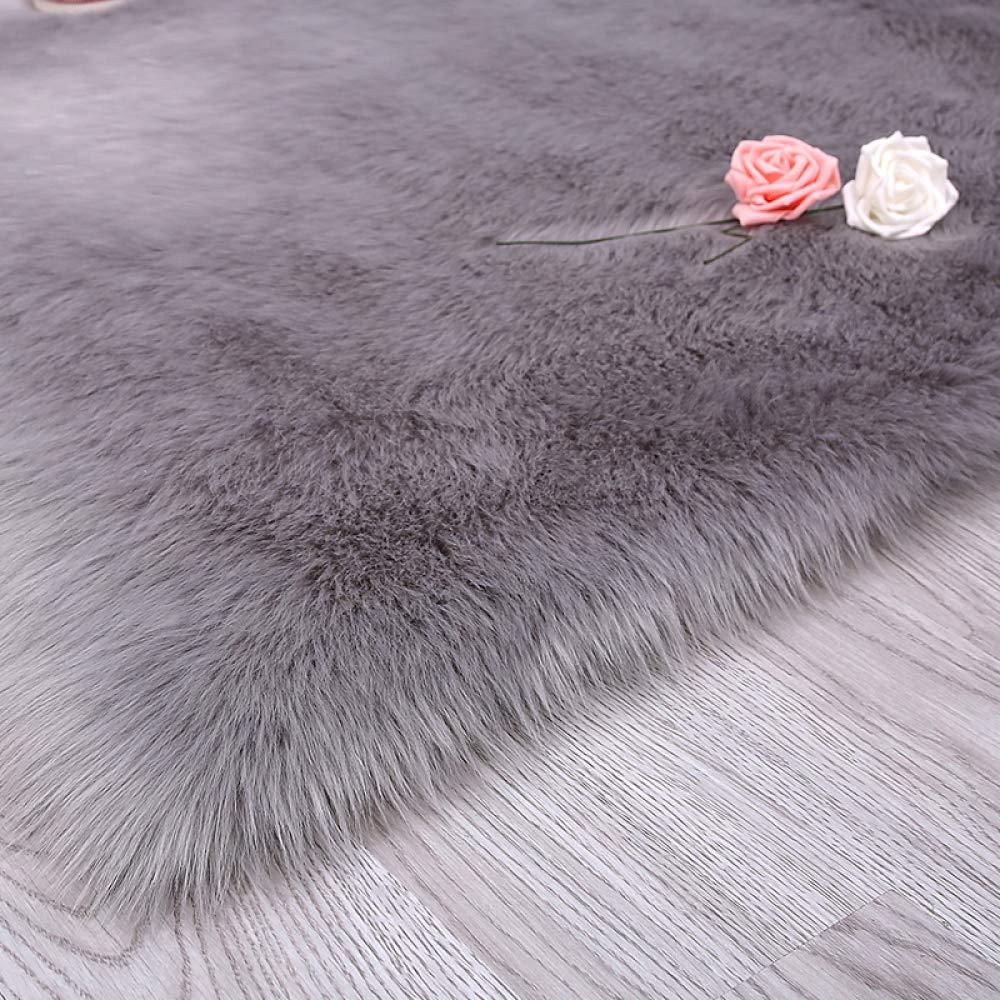 ASJUNQ Künstlicher Schaffellteppich Aus Wolle Geeignet Für Yogamatten Sofakissen Autositzkissen Moderner Minimalistischer Stil (5-7 cm Haarlänge),Grau-70cm180cm(27.5''70.8'')