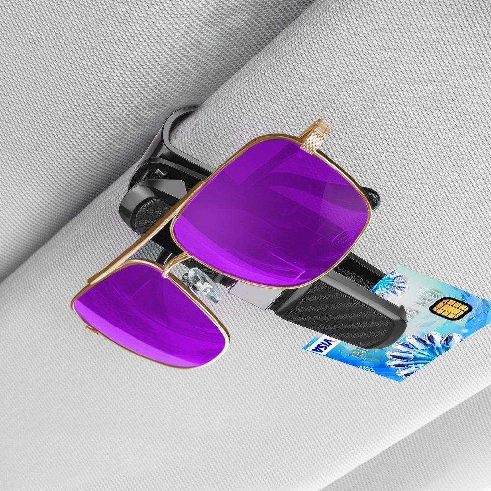 Supporto per occhiali da sole per auto Occhiali da sole con doppia visiera per occhiali da sole Porta occhiali Per auto Sun Visor-Conveniently Holds 2 coppie di Occhiali da sole e biglietti