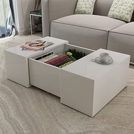 Anself White Coffee Table High Gloss For Living Room