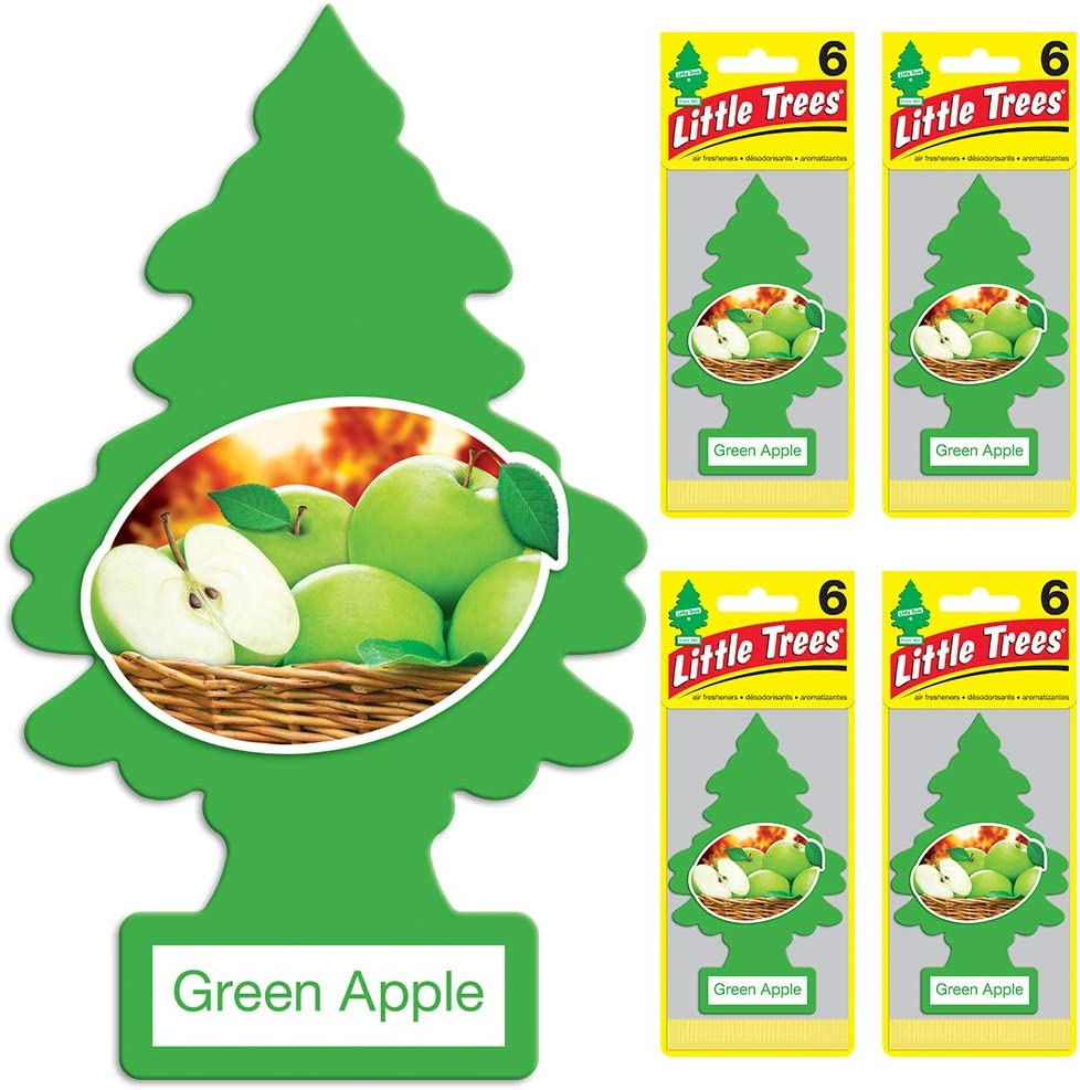 Little Trees Car Air Freshener - Hanging Tree Provides Long Lasting Scent for Auto or Home - Green Apple, 24 Count, (4) 6-Packs