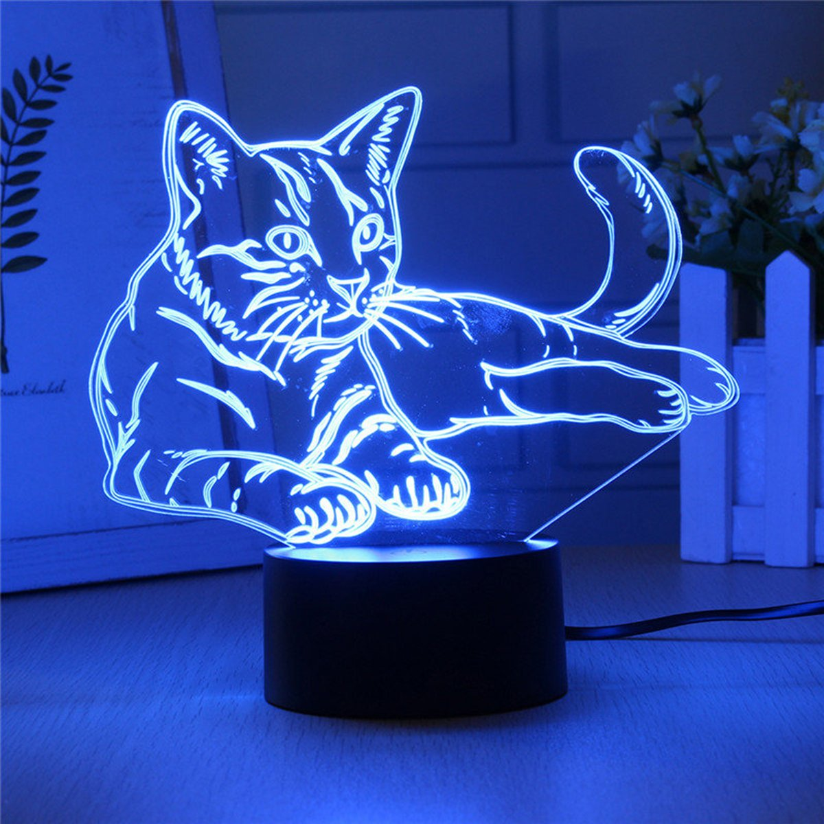 Lovely Cat 3D Night Light Touch Switch LED Animal 3D Lamp 7 Colors USB 3D Illusion Desk Lamp Home Decor for Kids Toy Gift