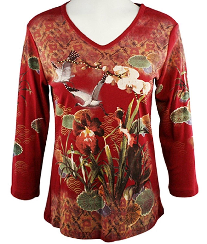 Cactus Fashion Women's Orchids & Cranes 3/4 Sleeve V-Neck Print Rhinestone Top