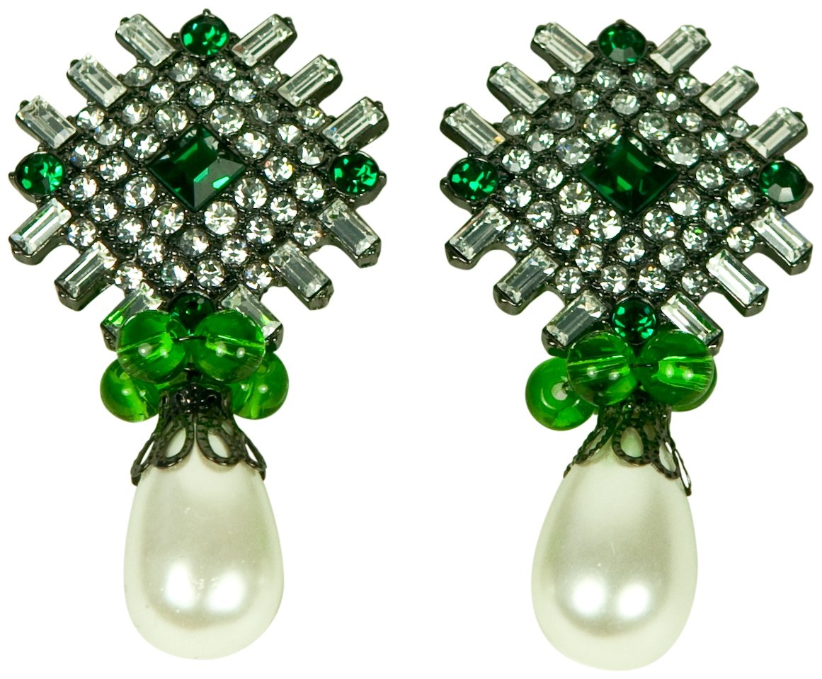 KENNETH JAY LANE-GUNMETAL & CRYSTAL CLIP EARRING WITH PEARL DROP-EMERALD.