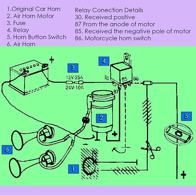 [FPWZ_2684]  Amazon.com: Zento Deals 12V DC Super Loud Dual Trumpet Air Horn Compressor  Kit: Automotive | Car Alarm Relay Wiring Diagram 12 Volt Air Horn |  | Amazon.com