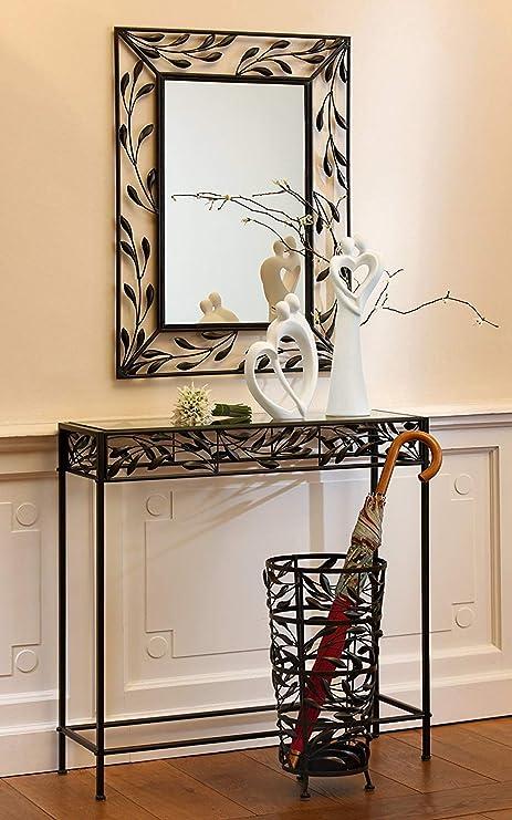 Gilde Espejo Pianta Metal Marrón Oscuro Altura 80 cm, Objeto para Pared, Casa, Vivienda: Amazon.es: Hogar