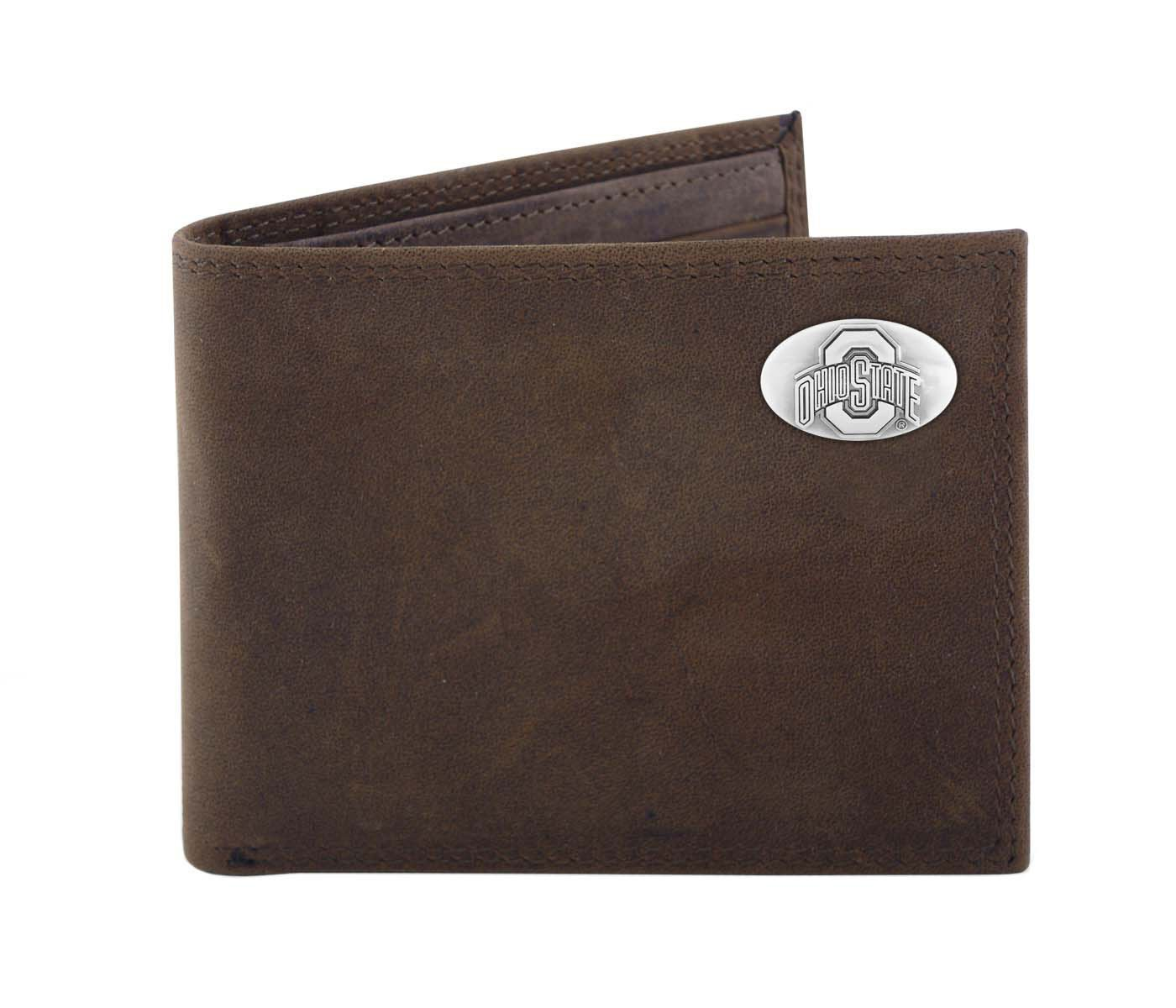 NCAA Ohio State Buckeyes Light Brown Crazyhorse Leather Bifold Concho Wallet One Size