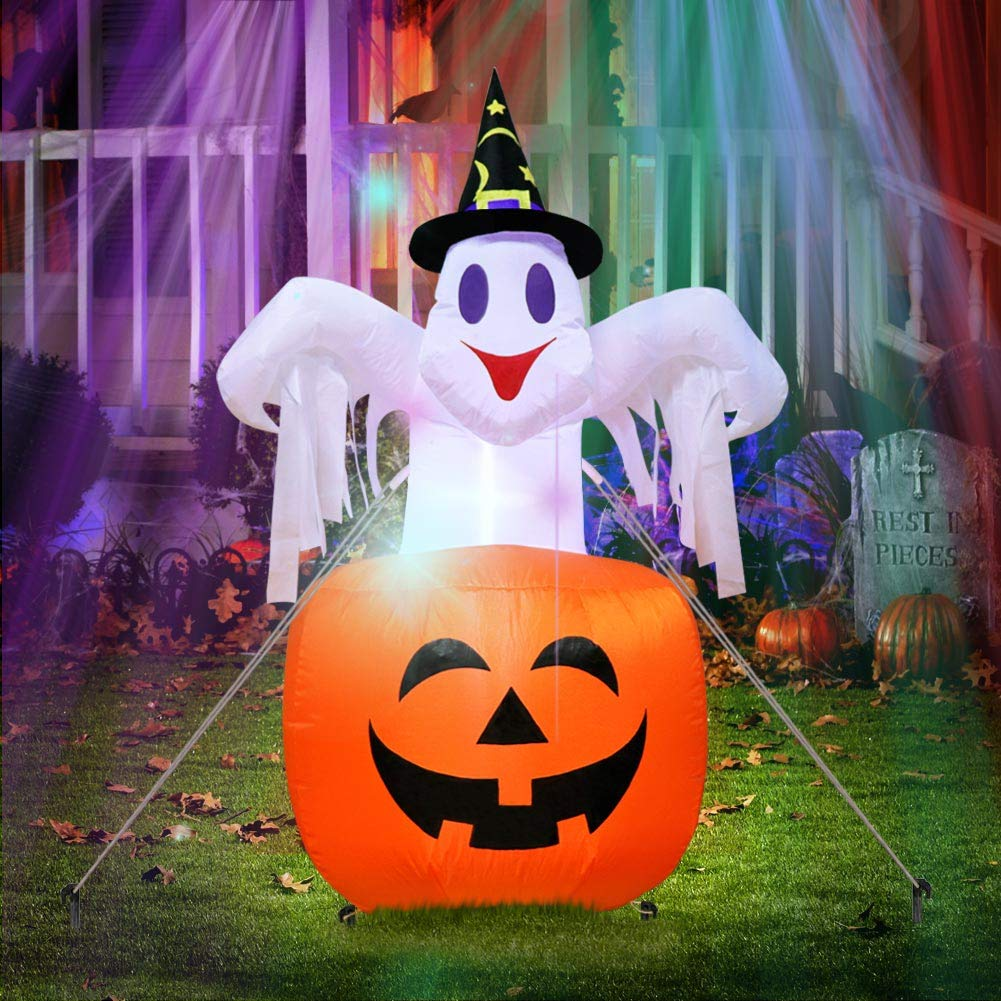 AerWo 4 7ft Halloween Inflatables Blow Up Yard Decorations Upgraded Ghost on Pumpkin with LED Lights for Halloween Decorations Outdoor