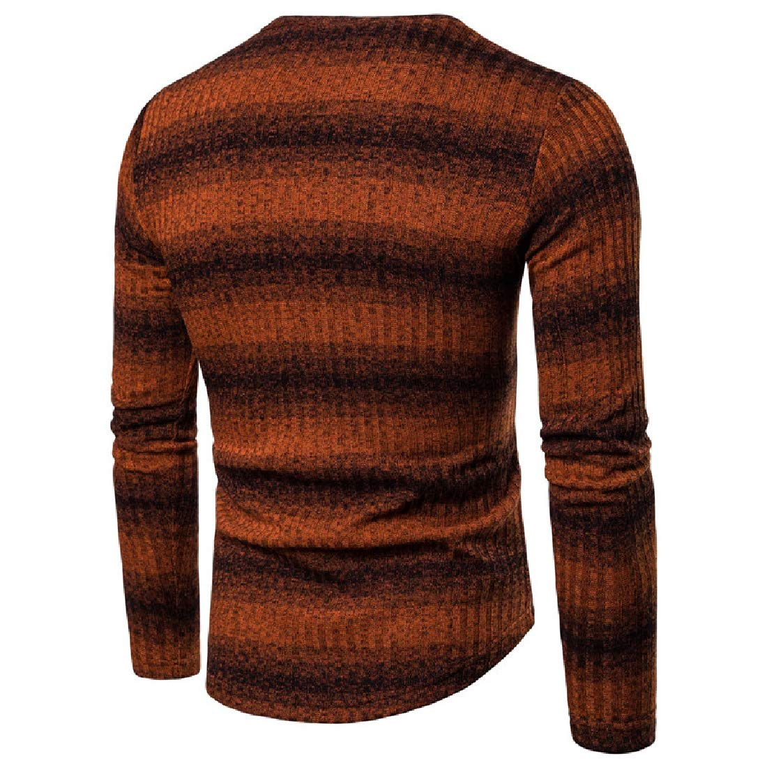 YUNY Mens Stripes Gradient Ramp Thickened Warm Knit Crew-Neck Pullover Orange XL