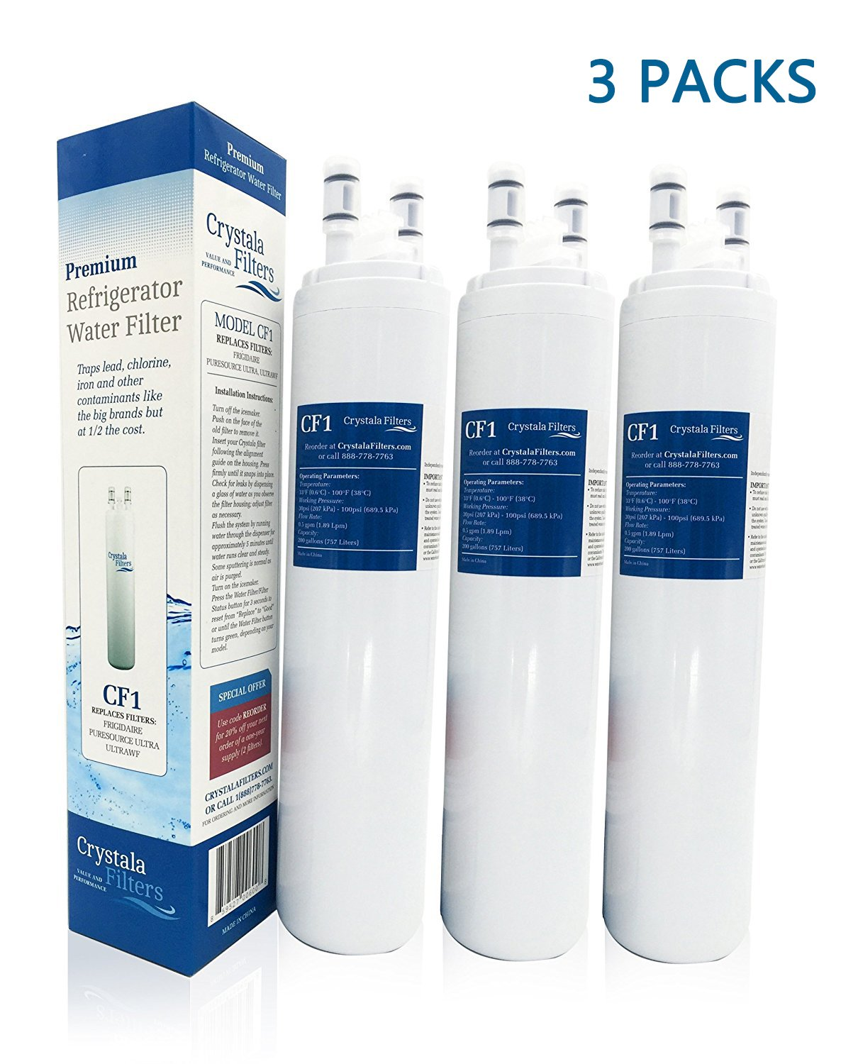 Crystala Filters Water Filter - Compatible Cartridge For ULTRAWF Frigidaire Refrigerators & Ice Makers - Compatible with Puresource, Gallery, Professional Series Fridge and Some Electrolux Models