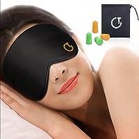 Antifaz para dormir, Gritin 100% Anti-Luz Opaco Cómoda Agradable para la piel Tela de seda natural puro y puros de algodón relleno Antifaces Máscara