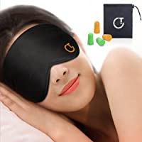 Sleep Mask,Eye Mask,Gritin Ultra Soft Skin-Friendly Pure Natural Silk Fabric and Natural Cotton Filled Sleeping Eye Mask with Adjustable Strap and Ear Plug for Men,Women and Kids