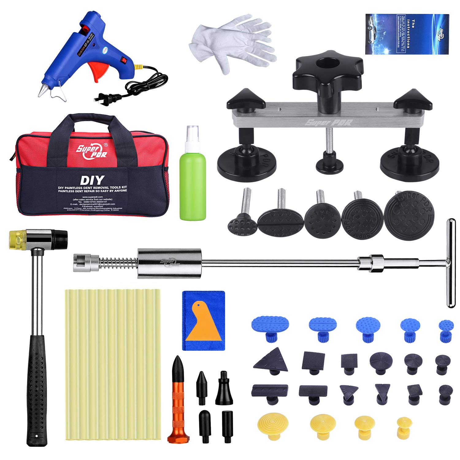 Fly5D Paintless Auto Car Body Dent Repair Removal Kits Set Dent Glue Puller Lifter Body Shop Repair Tools (46pcs)