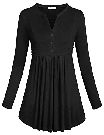 fe01bc4950bfe Anna Smith Women s Long Sleeve Split V Neck with Buttons Pleated ...