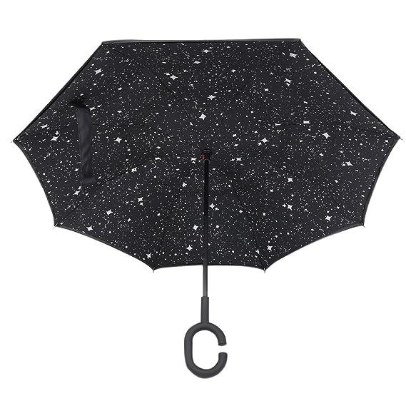saplit Una nueva e innovadora paraguas inversa, de doble capa invertida paraguas, paraguas creativas Coches inversa recto a prueba de agua y la auto pie ...