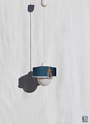 ♥ Lámpara de techo hecha a mano, en color azul petroleo ...