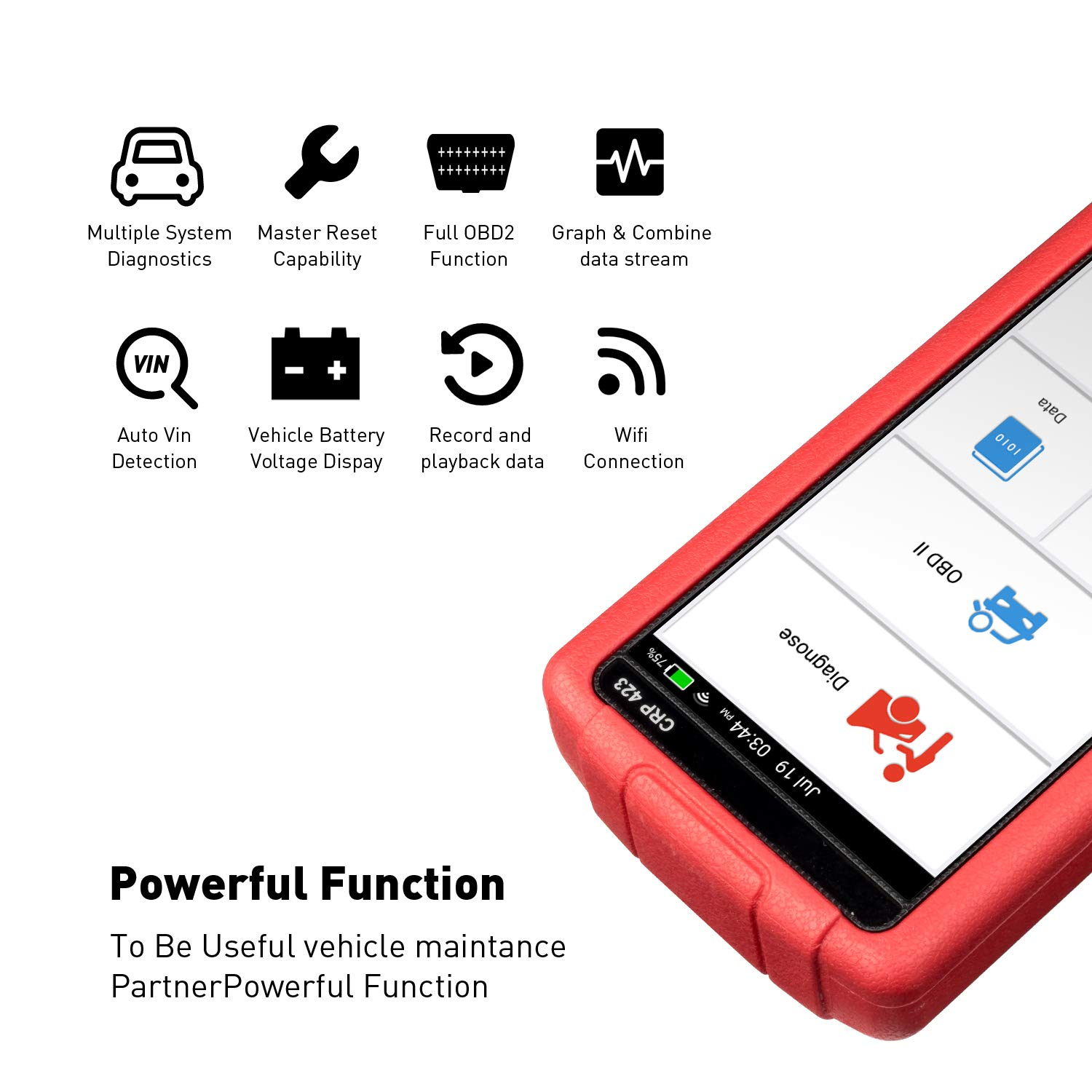 LAUNCH OBD2 Scanner Automotive OBD Code Reader Check Engine ABS SRS Transmission Diagnostic Scan Tool (CRP423) by LAUNCH (Image #2)