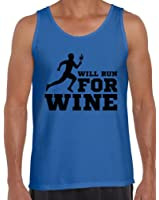 Awkward Styles Men's Will Run For Wine Tank Tops Black Funny Wine Running Workout