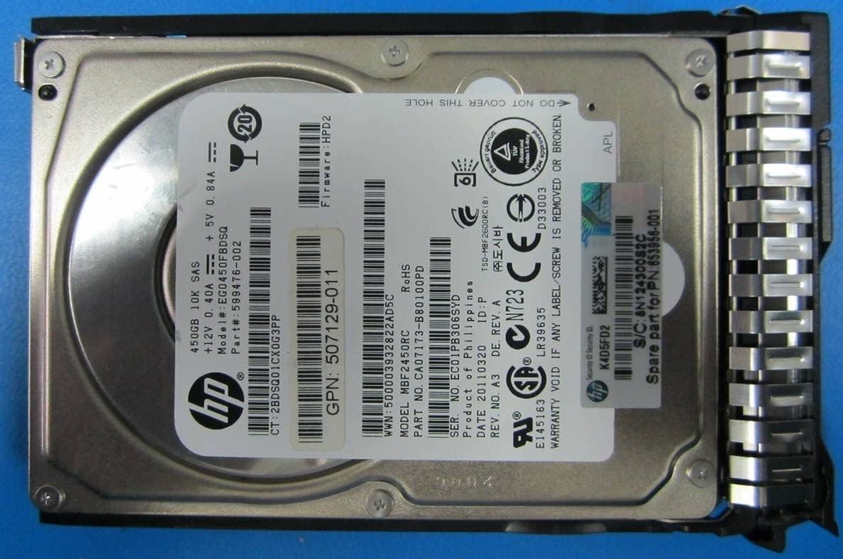 HP 653956-001 HP 653956-001 450GB hot-plug dual-port SAS hard drive - 10,000 RPM, 6Gb/sec transfer rate, 2.5-inch small form factor (SFF), Enterprise, SmartDrive Carrier (SC) - Not for use in MSA products