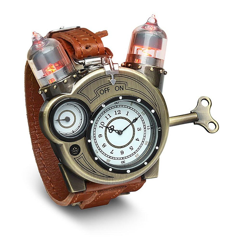 ThinkGeek Steampunk-Styled Tesla Analog Watch Weathered-Brass Look on Metal Findings Plus Leather Strap 3