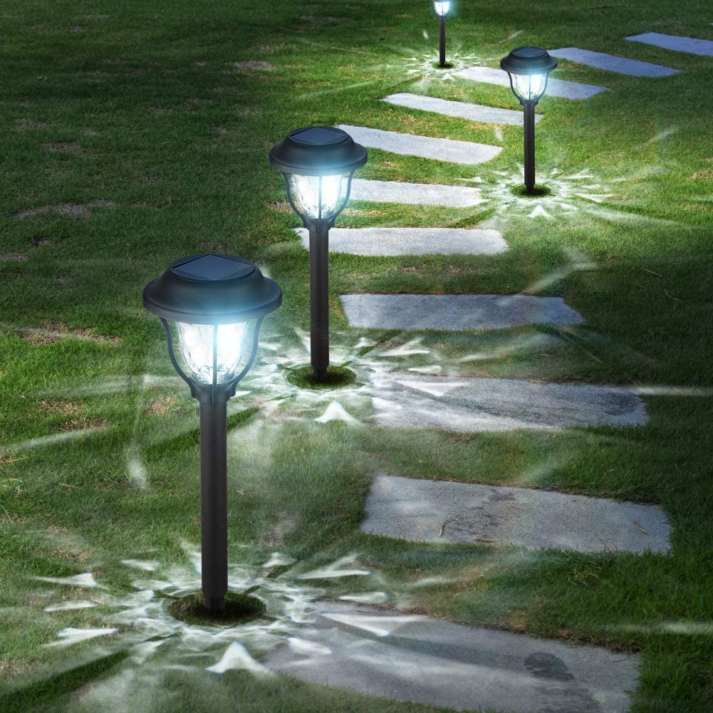 10 Pack Solar Lights Outdoor, Bright Solar Garden Outdoor Lights - Waterproof Solar Powered Pathway Lights, Auto On/Off Solar LED Landscape Lighting for Walkway Pathway Patio Yard - Cool White