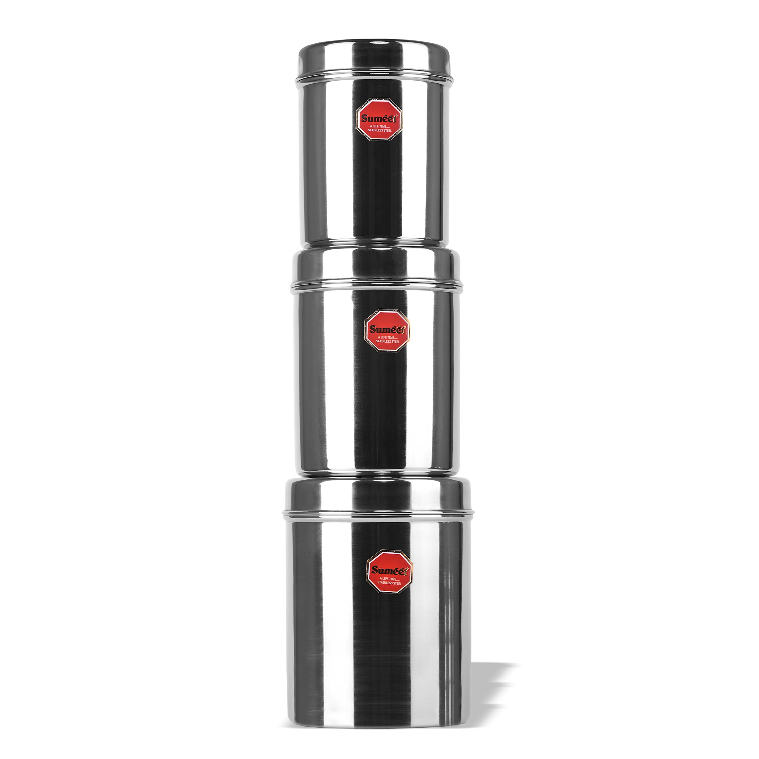 Sumeet Stainless Steel Vertical Canisters/Ubha Dabba/Storage Containers Set of 3Pcs (No. 10 To No. 12) (900ml, 1.250 Ltr, 1.6 Ltr)