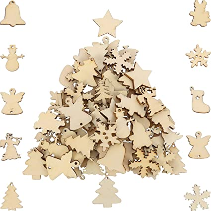 Hestya 150 Pieces Wooden Ornaments Mini Christmas Theme Natural Wood Slices Decorative Wooden Cutout Slices For Christmas Tree Ornaments Hanging Diy