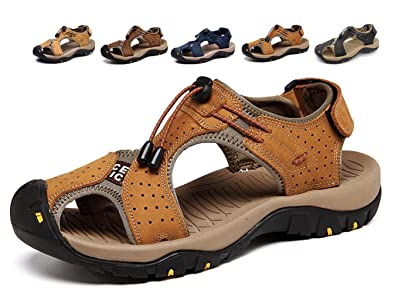 81a91644cde Asifn Sports Outdoor Sandals Summer Men s Beach Shoes Leather Casual  Breathable Non-Slip Hiking Walking