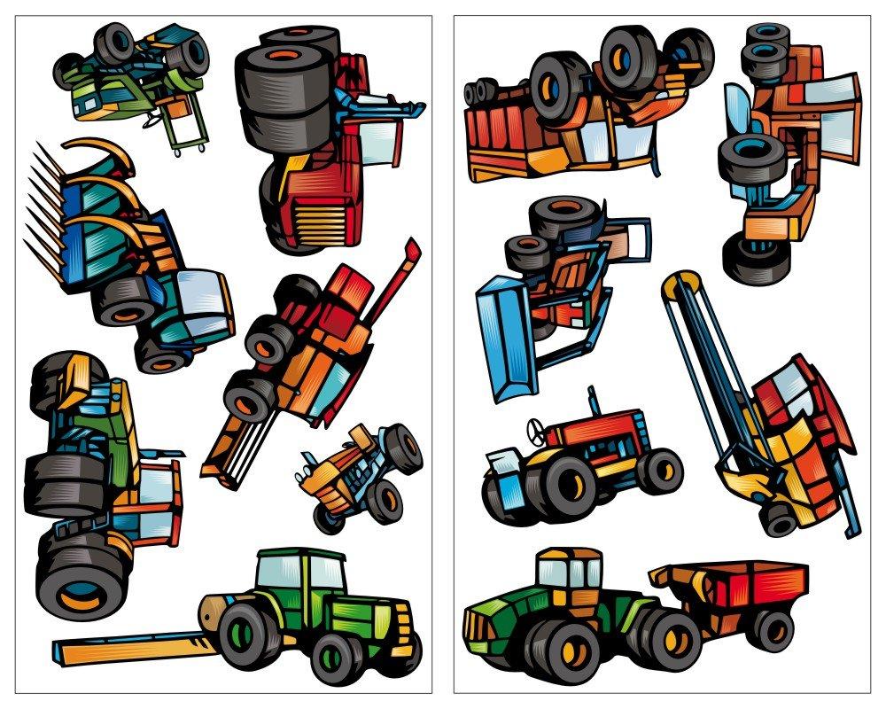 Verzauberkunst Wandtattoo Trecker Sammlung Von Plot4u 13-teiliges Traktor Und Fahrzeug Set Mähdrescher