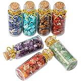 TUMBEELLUWA 7 Gemstone Bottles Healing Crystal Chips Tumbled Mini Wish Bottle Reiki Wicca Stone Set