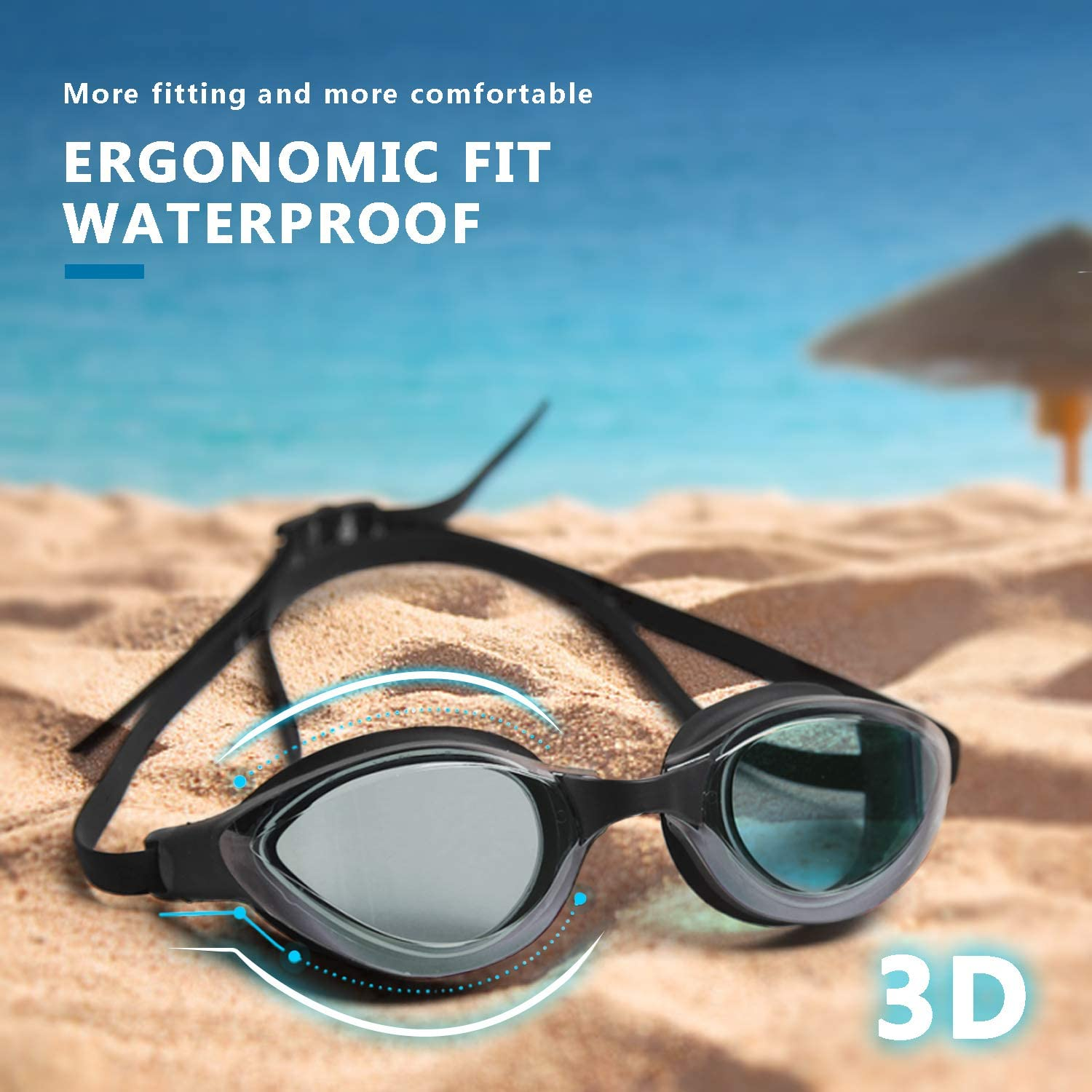 Peacoco Swimming Goggles Polarized Swim Goggles with Mirror//Smoke Lens UV Protection Watertight Anti-Fog Adjustable Strap Comfort fit for Adult Men and Women Teenagers