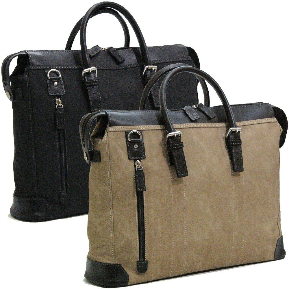 かばん ビジネス 鞄 日本製 ファッションバッグ 織人縦ファスナー二本手ビジネスバッグ 本革付属 ブラック(黒) B00MYQMHV8