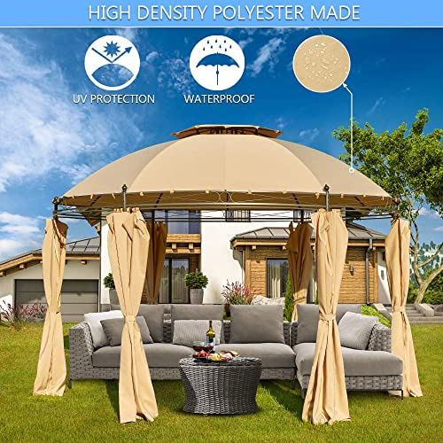 AVAWING Outdoor Gazebo 11.5ft Steel Fabric Round Soft Top Gazebo Outdoor Patio Dome Gazebo with Removable Curtains Khaki