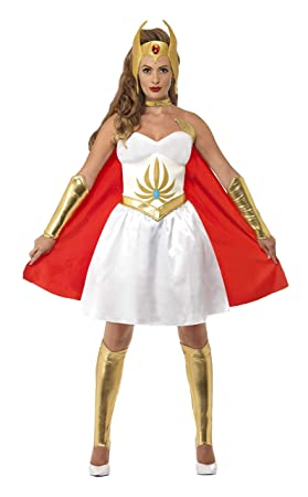 0c1f144fecb Smiffys Women's She-Ra Latex Costume, Dress, Latex Chest, Head Piece, Arm &  Bootcovers, Size: XS, Color: White, 20566