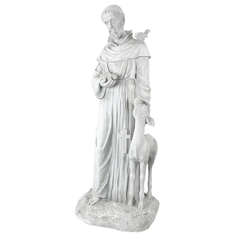 Design Toscano Saint Francis of Assisi, Patron Saint of Animals Religious Garden Decor Statue, 94 cm, Polyresin, Antique Stone KY1336