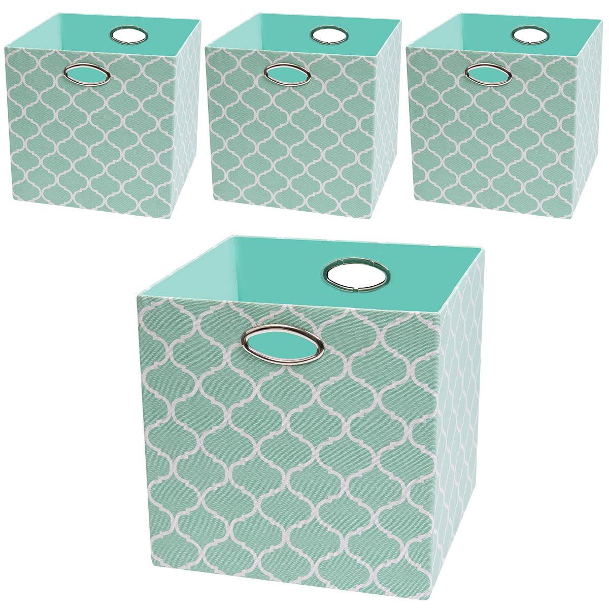 Posprica Foldable Storage Bins, 13×13 Storage Baskets Cubes Containers Closet Organizers, More Durable Fabric Boxes with Above Average Quality (4pcs, Grey Lantern) Nicemoon