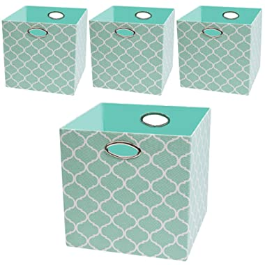 Posprica Collapsible Storage Cubes,13×13 Organizer Basket Bins Containers Drawers for Toy,Clothes,Laundry - 4pcs, Aqua Lantern Patterned