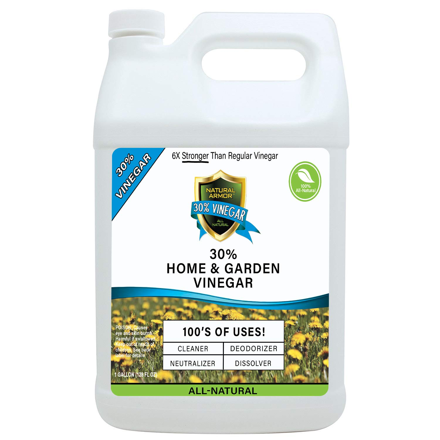 30% Vinegar PURE NATURAL & SAFE INDUSTRIAL STRENGTH CONCENTRATE for Home & Garden & Literally Hundreds Of Other Uses 6X Stronger Than Regular Vinegar (128 OZ GALLON Refill)