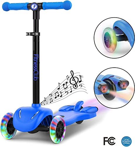 Fitnessclub Kick Scooter for Kids, Multi Foundation Kids Scooters with LED Light Up Wheels, Height Adjustable Scooter for Children, Rocket Sprayer Sound Effect,Colorful Water Dynamic Steam Mist