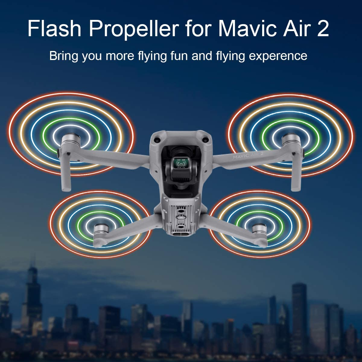 2 Pair FVW Mavic Air 2 LED Flash Propeller Foldable Props Low Noise Rechargeable LED Flash Propellers for DJI Mavic Air 2 Drone