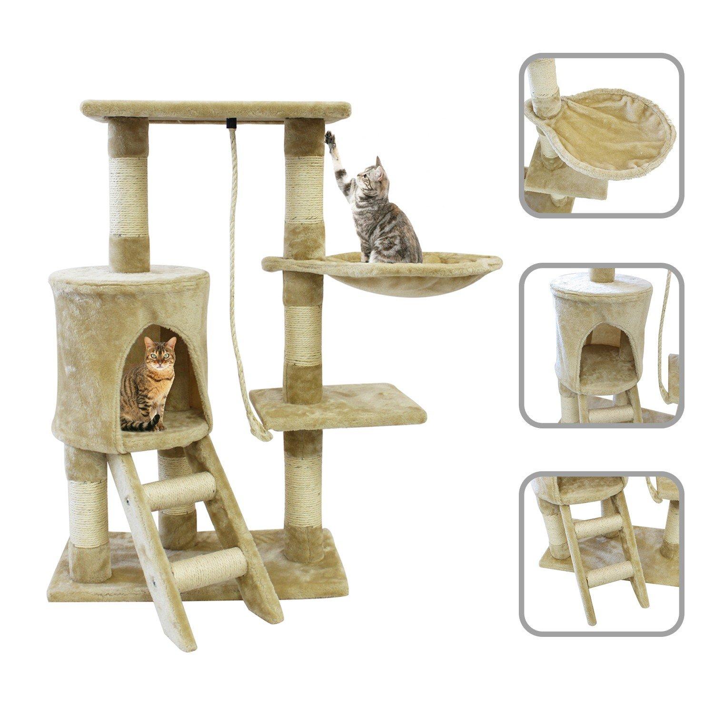 Todeco Arbre à Chat, Perchoir pour Chat - Matériau: MDF - Dimensions de la maison à chat: 30,0 x 33,0 x 33,0 cm - 90 cm, 4 plateformes, Beige