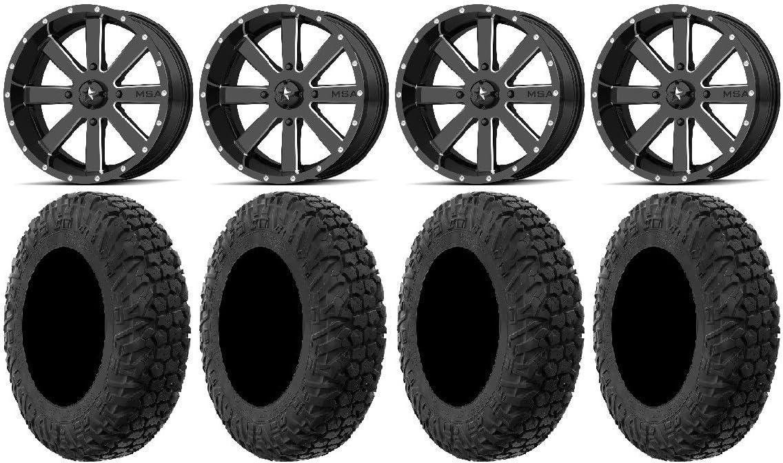 Bundle 4x156 Bolt Pattern 12mmx1.5 Lug Kit MSA Milled Flash 18 UTV Wheels 32 MotoHavok Tires 9 Items