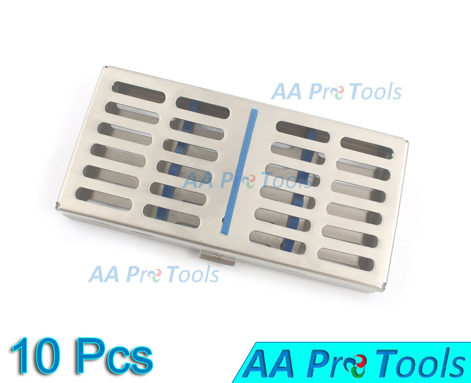 AA PRO SET OF 10 EACH DENTAL AUTOCLAVE STERILIZATION CASSETTE RACK BOX TRAY FOR 7 INSTRUMENTS A+ QUALITY