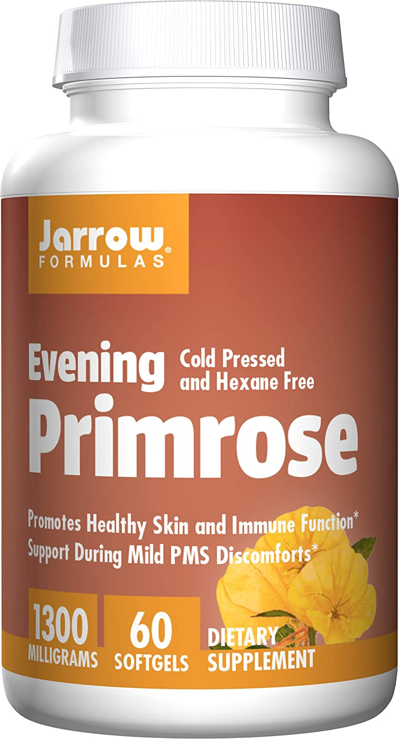 Jarrow Formulas Evening Primrose,Promotes Healthy Skin and Immune Function, 1300 mg, 60 Softgels: Health & Personal Care