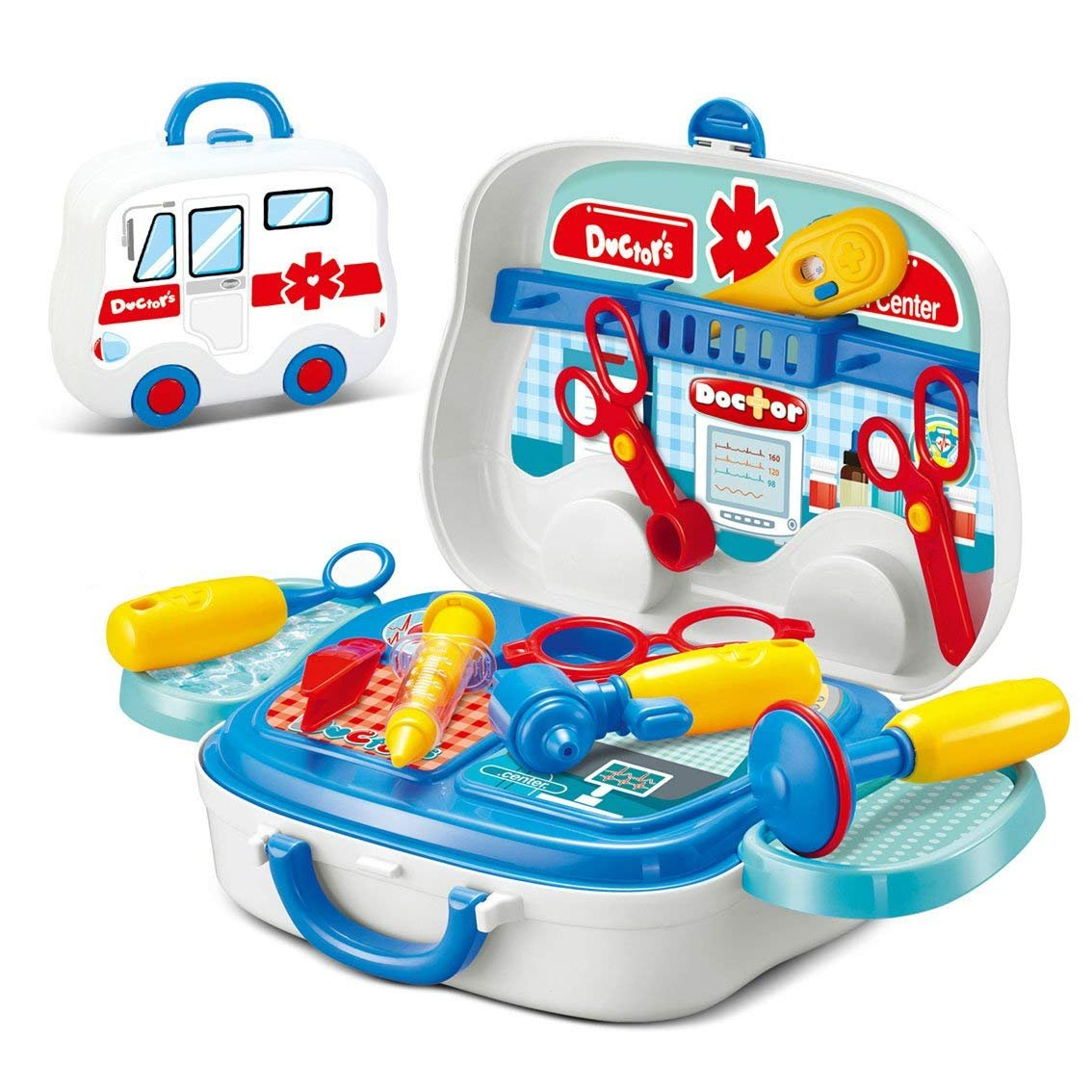JEJA Doctor Playsets 14pcs Doctor Medical Tools Pretend Play Toy with Portable Suitcase for Kids Boys Girls Age 3 Years and Up