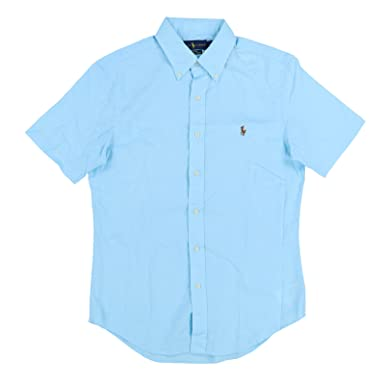 4571a18c Polo Ralph Lauren Men's Short Sleeve Poplin Sport Shirt, Blue, S at Amazon Men's  Clothing store: