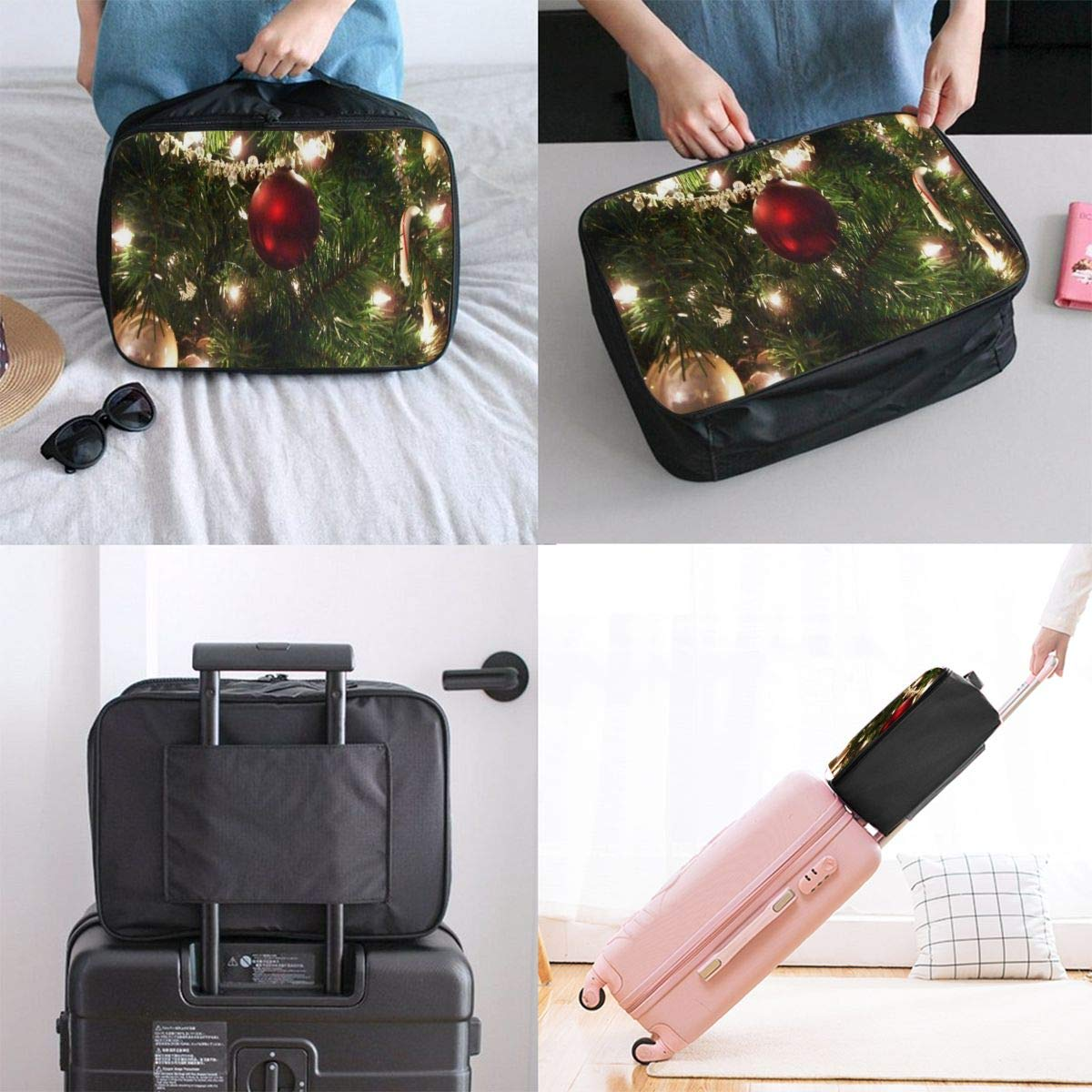 Lightweight Large Capacity Portable Luggage Bag Christmas Tree Flame Travel Waterproof Foldable Storage Carry Tote Bag