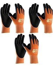 3 Pack MaxiFlex Ultimate Hi-Vis Orange Work Gloves 34-8014 Sizes Small-X-Large (Medium)