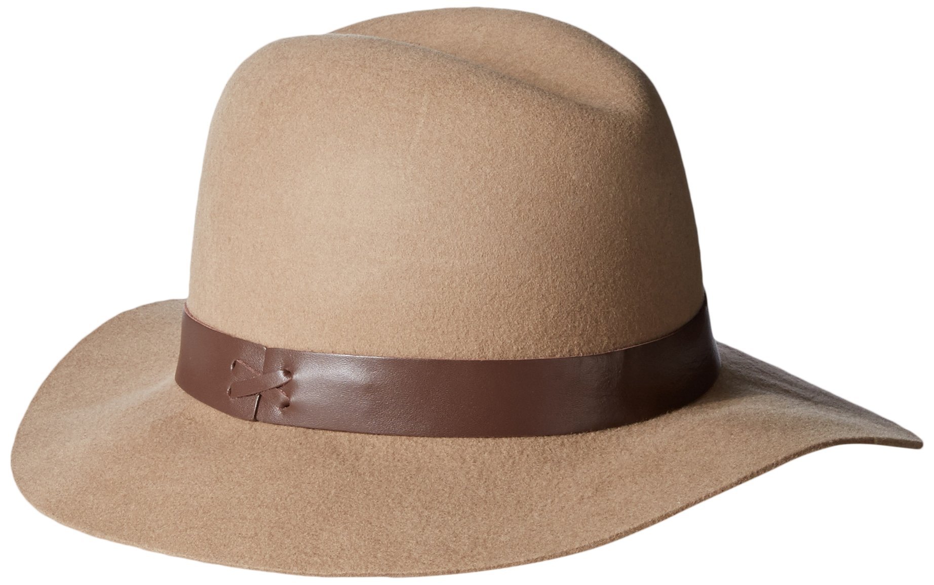 Hat Attack Women's Wool Felt Medium Brim Hat, Taupe/Chocolate, One Size
