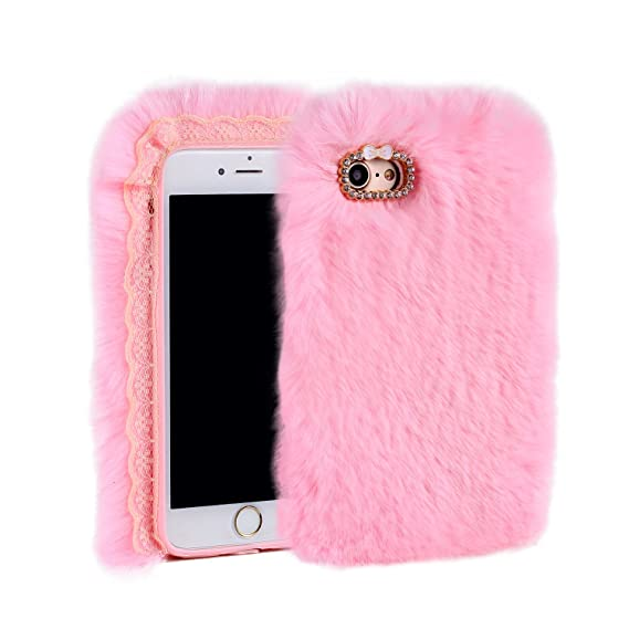 the latest ff693 4c7dc Aikeduo for Iphone5s Case Handmade Bling Crystal Rabbit Fur Rhinestone Case  Cover for iPhone 5s Warm Case (Pink)