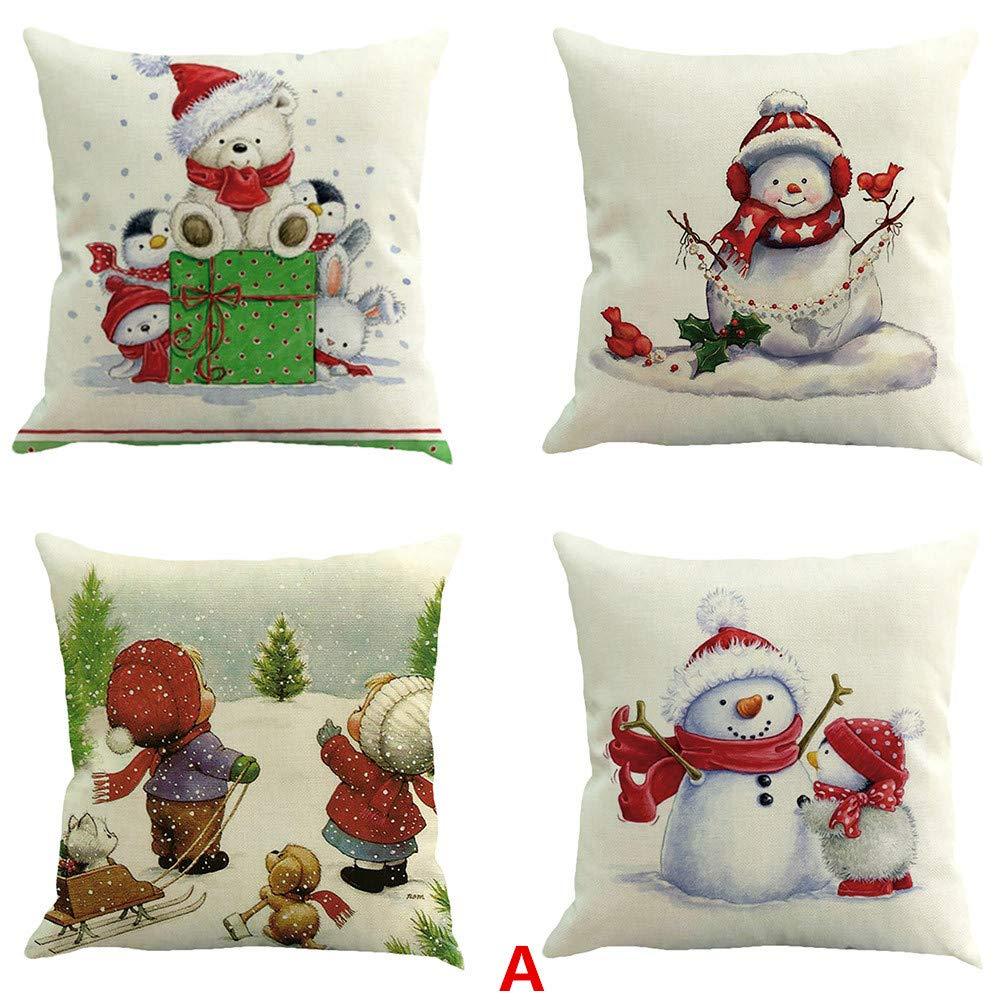 Malloom 4PC Merry Christmas Cotton Linen Pillow Case Rectangle Cover Decor Sofa Waist Cushion Cover 18x18 (A) Malloom no.40